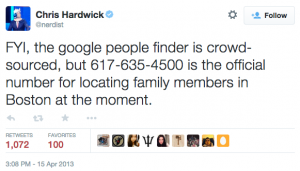 Tweet about how to locate family members